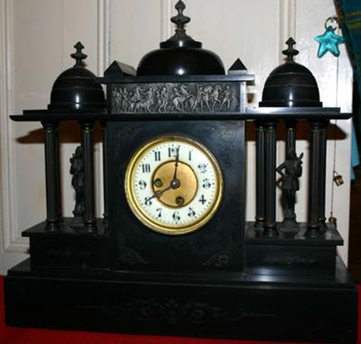 Black Marble Clock By Jules Rolez Paris