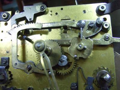 Howard Miller clock movement close-up