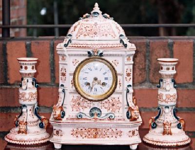 Longwy French Porcelain Clock Set