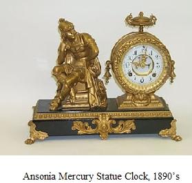 Ansonia Mercury Statue Clock