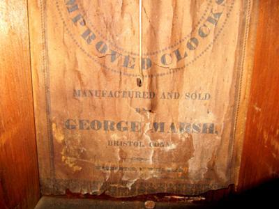 George Marsh Clock - label